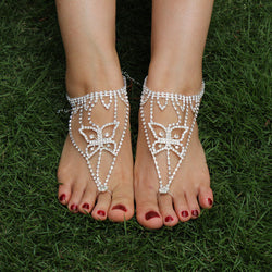 NEW Barefoot Beach Sandals Butterfly Bridal Wedding Diamante Crystal Anklet Foot Jewelry 1PC 1K4018 - onlinejewelleryshopaus