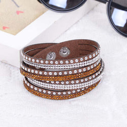 2016 Fashion Leather Wrap Wristband Cuff Punk Crystal Rhinestone Bracelet Bangle fine jewelry - onlinejewelleryshopaus