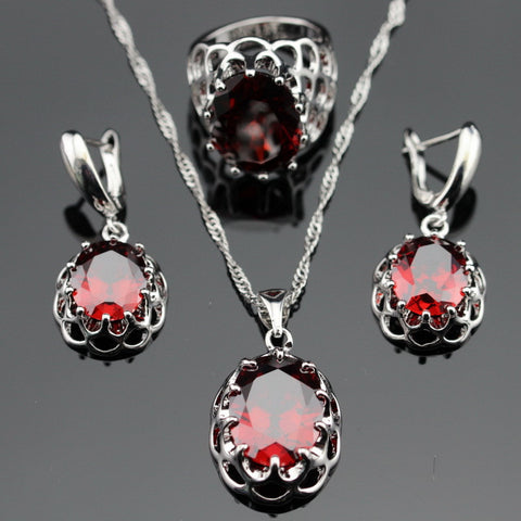 Made in China Created Red Garnet Silver Color Bridal Jewelry Sets Earrings/Pendant/Necklace/Rings For Women Free Gift Box - onlinejewelleryshopaus