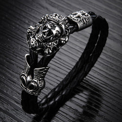 Wholesale New Fashion Vintage jewelry Stainless Steel Skull Bracelets Black Synthetic Leather Rope Hand Chain Men Bangles LPH845 - onlinejewelleryshopaus