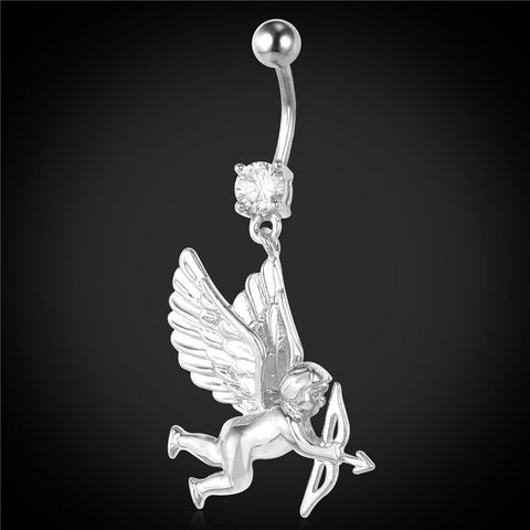 U7 Romantic Belly Button Rings Women Body Jewelry Crystal Cupid's Arrow Yellow Gold/Platinum Plated Women Navel Piercing DB140 - onlinejewelleryshopaus