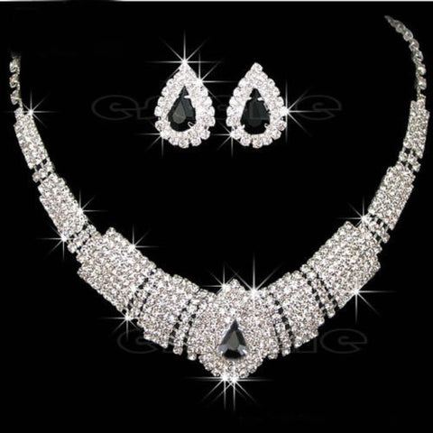 U119 Free Shipping Wedding Bridal Party Prom Drop Rhinestone Crystal Necklace Earrings Jewelry Sets - onlinejewelleryshopaus