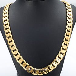 Davieslee 18-36INCH/12MM CUT CURB CUBAN Chain Necklace Mens Chain Womens Chain Gold Filled Jewelry Party Daily Wear DLGN270 - onlinejewelleryshopaus