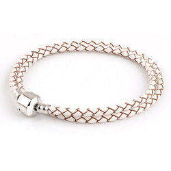 Summer Style white Genuine Leather Bracelet Chain Fit For Charms Bracelets DIY Metal fit for Alloy Glass European Big Hole Beads - onlinejewelleryshopaus