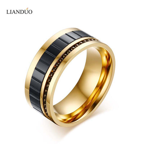 Meaeguet Trendy 10mm Men Titanium Steel Gold Plated Rings Black Tone Brick pattern Men's Jewelry Beaded Wedding Bands Ring - onlinejewelleryshopaus