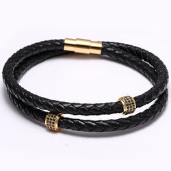 Round Zircon Mens Bracelets Stainless Steel Black Leather Bracelet Wristband Bangle Punk Style Fashion Jewlery Magnetic Clasp - onlinejewelleryshopaus