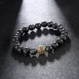 10mm Pave Rose Gold Plated Male Disco Ball Black CZ Zirconia Bracelet Black Lava Stone Bead Bracelets For Men Women Jewelry - onlinejewelleryshopaus