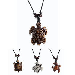 New Fashion Black Rope skull White Brown Cute tortoise turtle Necklace Pendant For Women Men simulated-bone Jewelry - onlinejewelleryshopaus