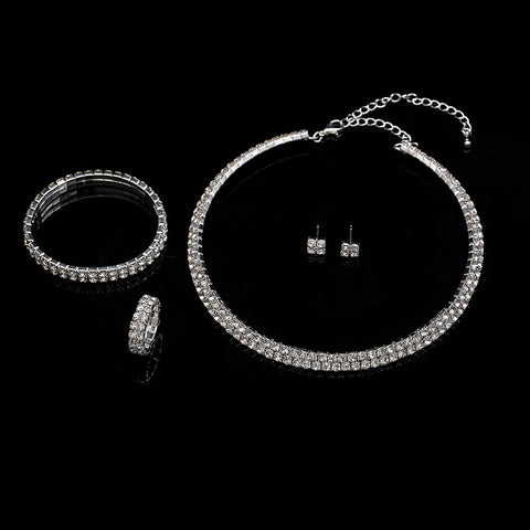 CZ Diamond Jewelry sets Two Rows Crystal Ring + Necklace + Earrings + Bracelet Bridal Jewelry Sets for Women Crystal Jewelry - onlinejewelleryshopaus