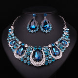 Fashion Indian Jewellery Indian Crystal Necklace Earrings Bridal Jewelry Sets For Brides Party Wedding Accessories Decoration - onlinejewelleryshopaus