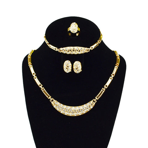 Dubai Gold Plated Jewelry Sets Nigerian Wedding African Beads Crystal Bridal Jewellery Set Rhinestone Ethiopian Jewelry - onlinejewelleryshopaus