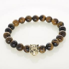 Men's Classic Gold Plated Tiger Head Charm Tiger eye Stones Howlite Agate Beads For Men Charm Bracelets Jewelry Accessories - onlinejewelleryshopaus