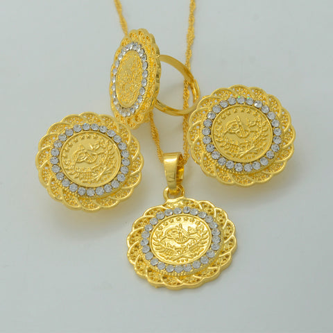 Gold Coin Jewelry Sets,Rhinestone Coin Necklace Earring Ring  Gold Plated Turks Specie Arab/Africa/Middle East/Turkey #014906 - onlinejewelleryshopaus