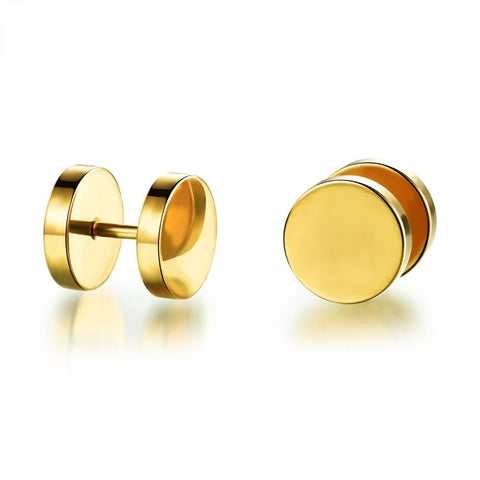 Fashion circle  stud earrings for women   gold plated stainless steel ear cuff  wholesale - onlinejewelleryshopaus