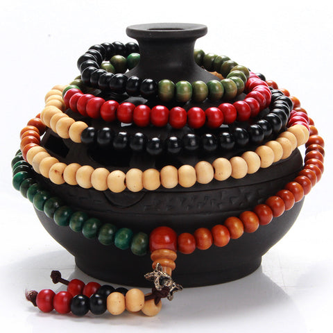 6mm 216 Natural Multi Colored Sandalwood Bead Bracelet Prayer Rosary Mala Jewelry Tibetan Buddhist Meditation Buddha Bracelet - onlinejewelleryshopaus