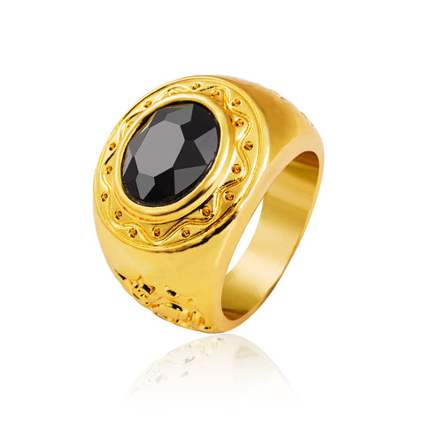 24K real gold plated black oval Onyx agate men's ring Vintage Hip hop Golden male jewelry New Year gift no fade R035 - onlinejewelleryshopaus