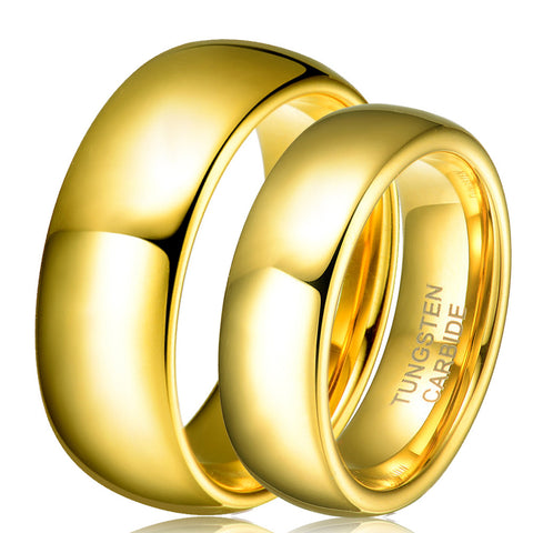 Wholesale 1 Pair Tungsten Carbide Gold Plated Ring For Men Women Lovers Wedding Band Alliance Bridal Jewellery Sets - onlinejewelleryshopaus