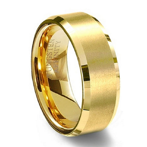 8mm Women Men's Gold Plated Alliance Tungsten Carbide Wedding Band Ring for Bridal Jewelry Male Christmas Anillos TU051R - onlinejewelleryshopaus