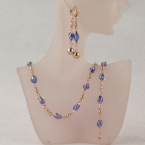 Free Shipping Fashion Women's  Gold Plated Blue Austrian Crystal Necklace Bracelet Earrings Wedding/Bride Jewelry Sets Gift - onlinejewelleryshopaus