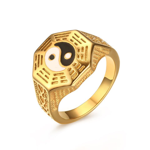 Meaeguet Men's Gossip Yin Yang Symbol Gold-Plated Rings Stainless Steel Male JewelryBague Anillos Gift US Size 7-11 - onlinejewelleryshopaus