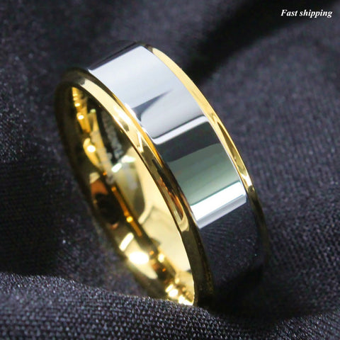 8mm Tungsten Mens Ring Gold High polished Wedding Band Mens Jewelry Free Shipping - onlinejewelleryshopaus