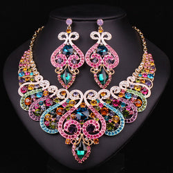 Fashion Bridal Jewelry Sets Wedding Necklace Earring For Brides Party Accessories Gold Plated Crystal Indian Women Decoration - onlinejewelleryshopaus