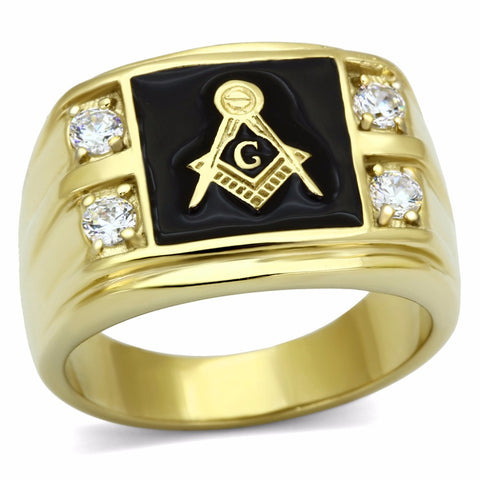 DC1989 Men's Stainless Steel CZ Masonic Ring Synthetic Cubic Zirconia Ionic Gold Plated Environmental Material Lead Free - onlinejewelleryshopaus