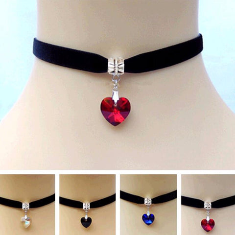 1 PCS Unisex Women Men Lover Gothic Velvet Heart Crystal Choker Handmade Necklace Pendant Torques Retro 80 90s New Jewelry - onlinejewelleryshopaus