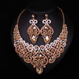 New Bridal Jewelry Sets Wedding Necklace Earring For Brides Party Accessories Gold Plated Crystal Indian Decoration Women Gift - onlinejewelleryshopaus