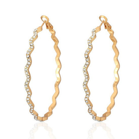 Big Hoop Earrings Yellow Gold Plated Basketball Wives Fashion Jewelry For Women Austrian Rhinestone Wave Round Earrings E625 - onlinejewelleryshopaus