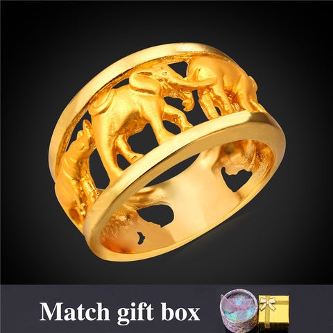 Gold Plated Rings For Men Classic Jewelry With Gift Box Wholesale Elephant Gold Ring Men's Jewelry 2016 New R1930 - onlinejewelleryshopaus