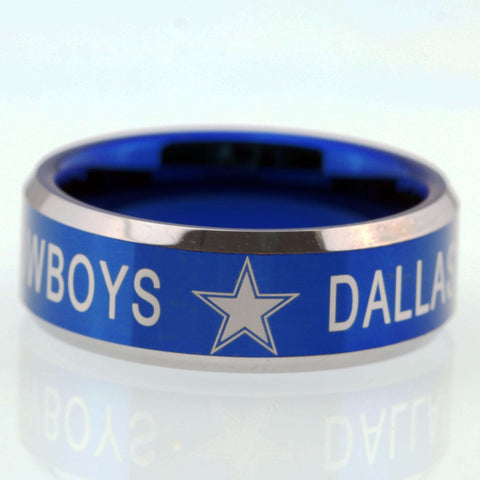Free Shipping YGK JEWELRY Hot Sales 8MM Dallas Cowboys Design Men's Blue Tungsten Comfort Fit Ring - onlinejewelleryshopaus