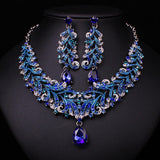 Fashion Indian Blue Rhinestone Indian Wedding Bridal Accessories Party Jewelry Set For Brides Necklace Earring Set Gift Women - onlinejewelleryshopaus