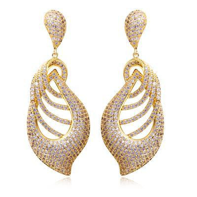DC1989 Women Vintage Party Earrings Pierced Leaves Style Rhodium or Gold Plated Synthetic Cubic Zirconia Paved Lead Free Finish - onlinejewelleryshopaus