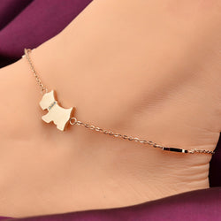 2016 Cute Dog Anklet Bracelet Chain in Rose Gold Plated Titanium Steel Barefoot Anklet Fashion Foot Jewelry for Women Girls - onlinejewelleryshopaus