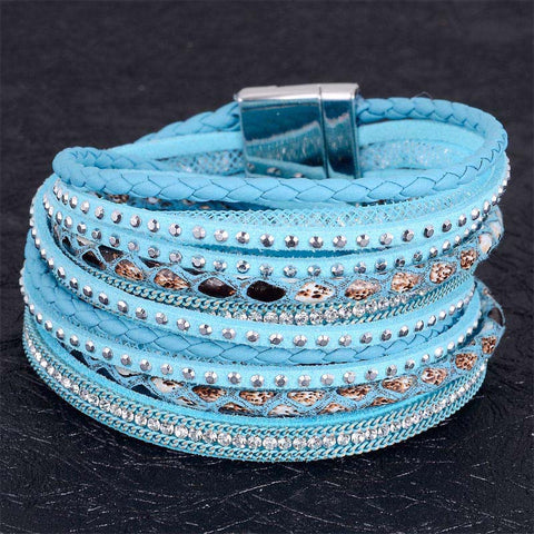 12PCS double bracelet crystal chain with full rhinestone bracelets for women jewelry girls bandage genuine leather bracelets - onlinejewelleryshopaus