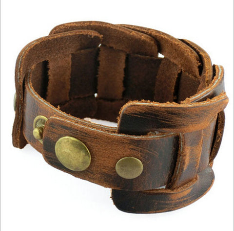 100% genuine leather bracelet fashion cowhide charm bracelet Punk Style wholesale jewelry gifts for men high quality NSL-3 - onlinejewelleryshopaus