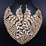 African Beads Jewelry Large Crystal Necklace Earrings for Women Wedding Prom Fashion Indian Bridal Jewelry sets - onlinejewelleryshopaus