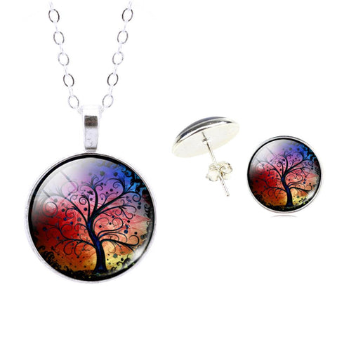 Fashion Silver Color Pendants Necklaces & Earrings Sets For Women Cute Art Tree Cabochon Glass Jewelry Sets Fine Jewelry - onlinejewelleryshopaus