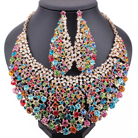 Wedding Jewelry Full Crystal Rhinestones Big Necklace and Earrings for Women, African bridal Jewelry Sets - onlinejewelleryshopaus