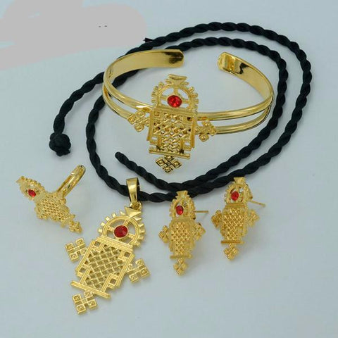 Ethiopian Cross Traditional Religious Jewelry set Necklace/Earrings/Ring/Bangle Ethiopia Gold Plated  Eritrea Crosses #015606 - onlinejewelleryshopaus