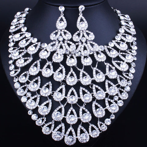 Bridal Jewelry Sets Wedding Necklace Earring For Brides Party Accessories Gold Plated Crystal Decoration  Women - onlinejewelleryshopaus
