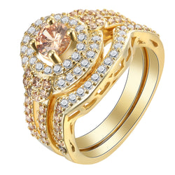 gold plated ring sets for engagement friend trendy women created topaz cz zircon princess Hot sale wedding RINGS Set jewelry - onlinejewelleryshopaus