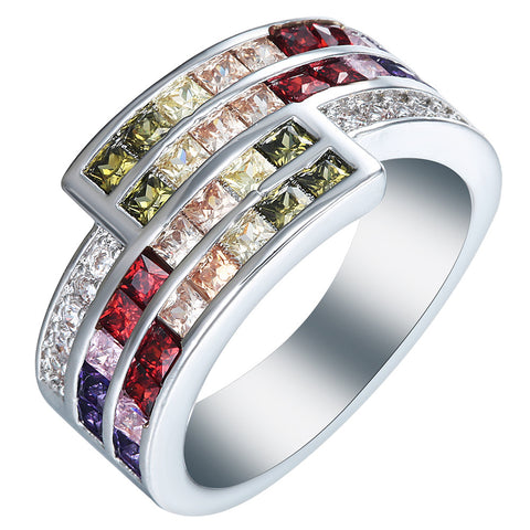 silver plated rings us 7 8 9 New vintage colorful purple green red pink champagne cz Jewelry Wedding gift luxury promise rings - onlinejewelleryshopaus