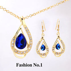 Free shipping Women Crystal Jewelry Sets  Gold Plated Chain Austrian Crystal  Necklace+Earrings Set Bridal Jewelry Gift - onlinejewelleryshopaus