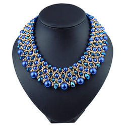 2016 Necklace Luxury Link Choker Collars Vintage Ethnic Crystal Beads Statement Choker Necklaces Women Retro jewelry - onlinejewelleryshopaus