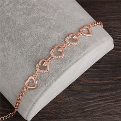 2017 Rose Gold Plated Chain Link Bracelet for Women Ladies Crystal Heart Jewelry Gift Wholesale Price Girls Bracelets & Bangles - onlinejewelleryshopaus
