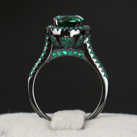 R&J 2016 Hight Quality 14KT Black Gold Filled Ring Wedding fashion Black Jewelry Green 5A Zircon Crystal rings For Women Gift - onlinejewelleryshopaus