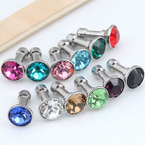 100 pcs Crystal Bling Diamond 3.5mm Cell Phone Earphone Jack Anti Dust Plug For Iphone Samsung Huawei xiaomi Accessories - onlinejewelleryshopaus