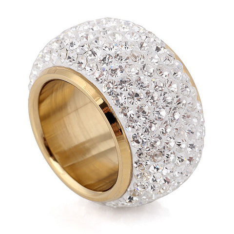 Wholesale shining full rhinestone finger rings for woman luxurious paragraph fashion new gold plated - onlinejewelleryshopaus